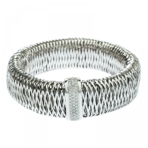 Roberto Coin Primavera Diamond Interwoven 18k White Gold Wide Stretchable Bangle Bracelet