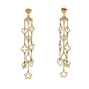 Roberto Coin Diamond 18K Yellow Gold Long Earrings
