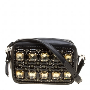 Rochas Black Leather Crystal Embellished Crossbody Bag