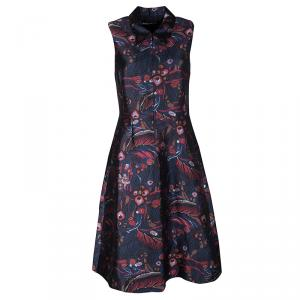 Rochas Navy Blue Printed Silk Wool Blend Sleeveless Zip Front Dress M