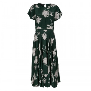 Rochas Green Dahlia Print Silk Midi Dress M