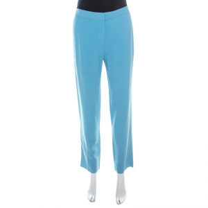 Rochas Aqua Blue Crepe Tailored Trousers L