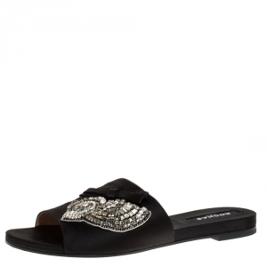 Rochas Black Satin Crystal And Bow Embellished Flat Mule Slides Size 39