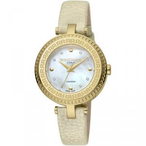 Rochas MOP Gold-Plated Stainless Steel and Leather RP2L019L0021 Women's Wristwatch 34MM