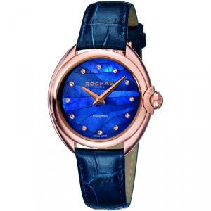 Rochas Blue MOP Rose Gold-Plated Stainless Steel and Leather RP2L006L0041 Women's Wristwatch 34MM