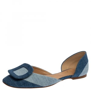 Roger Vivier Denim Fabric D'Orsay Flats Size 38