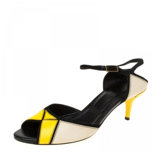 Roger Vivier Tri Color Leather Peep Toe Ankle Strap Sandals Size 37.5 - used