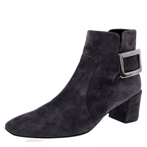 Roger Vivier Grey Suede Polly Side Buckle Ankle Boots Size 37 - used