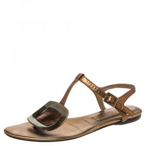 Roger Vivier Metallic Bronze Leather Chips Embellished Flat Sandals Size 36 - used
