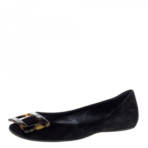Roger Vivier Black Suede Tortoise Shell Buckle Ballet Flats Size 36.5 - used