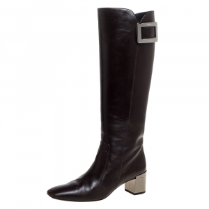 Roger Vivier Dark Brown Leather Buckle Detail Knee Length Boots Size 36.5 - used