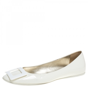 Roger Vivier White Patent Leather Gommette Ballet Flats Size 37 - used