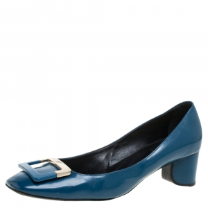 Roger Vivier Blue Leather Buckle Square Toe Pump Size 40.5