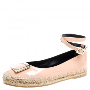 Roger Vivier Light Pink Patent Leather Buckle Ankle Wrap Espadrille Flats Size 39.5