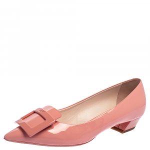 Roger Vivier Pink Patent Leather Pointed Toe Ballet Flats Size 38