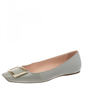 Roger Vivier Grey Patent Leather Ballet Flats Size 39