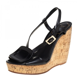 Roger Vivier Black Leather Cork Wedge Sandals Size 35.5 - used