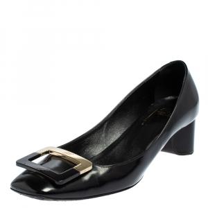 Roger Vivier Black Leather Belle Vivier Buckle Block Heel Pumps Size 38.5