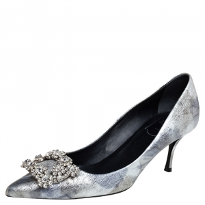 Roger Vivier Silver Foil Leather Flower Strass Crystal Embellished Pointed Toe Pumps Size 37