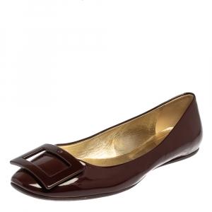 Roger Vivier Burgundy Patent Leather Gommette Ballet Flats Size 39.5