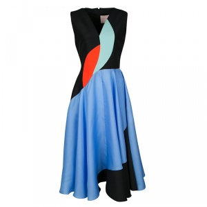 Roksanda Colorblock V-Neck Sleeveless Flared Dress M