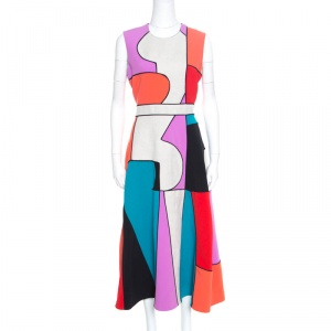 Roksanda Ilincic Colorblock Canvas Paneled Sleeveless Ossington Midi Dress M