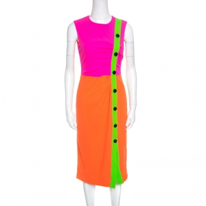 Roksanda Ilincic Neon Colorblock Wool Crepe Sleeveless Etting Dress M