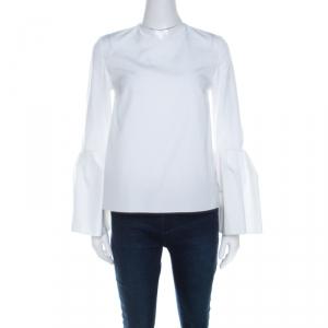 Roksanda Ilincic White Cotton Poplin Bell Sleeve Truffaut Top S