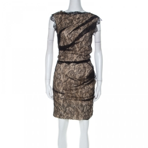Roksanda Ilincic Black & Beige Lace & Silk Gather Detail Dress S - used