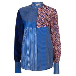 Roksanda Ilincic Blue Striped Silk Top S