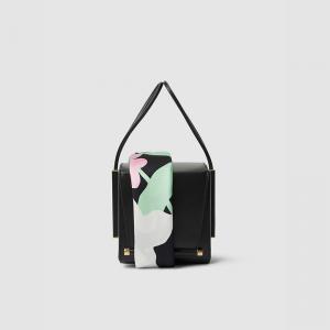 حقيبة روكساندا سوداء بوشاح ويد جلدية