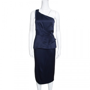 Roland Mouret Navy Blue Satin Half Peplum Anerley One Shoulder Dress L