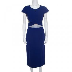 Roland Mouret Royal Blue Wool Crepe Honeycomb Mesh Trim Kitero Dress L