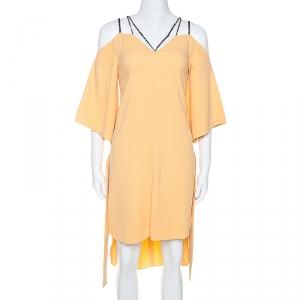 Roland Mouret Pale Orange Crepe Contrast Trim Conway Short Dress M