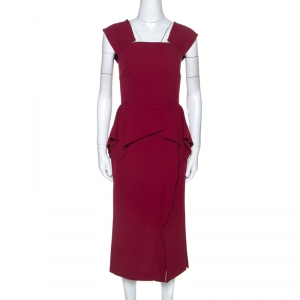 Roland Mouret Burgundy Wool Crepe Peplum Sawleigh Dress M