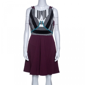 Roland Mouret Multicolor Crepe Basket Weave Bodice Derya Dress L
