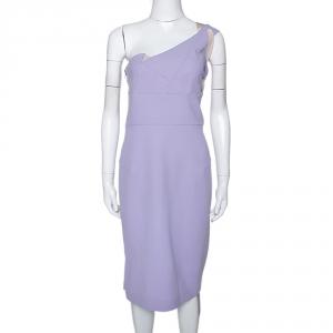 Roland Mouret Lavender Wool Crepe One Shoulder Aglais Dress M