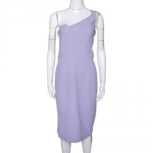 Roland Mouret Lavender Wool Crepe One Shoulder Aglais Dress L