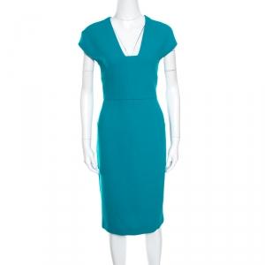 Roland Mouret Sea Green Wool Crepe Cutout Back Detail Egerton Dress L - used