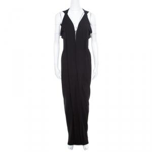 Roland Mouret Black Crepe Knit Draped Featherstone Evening Gown L