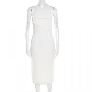 Roland Mouret White Waffle Textured Sleeveless Abersley Dress S - used