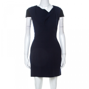 Roland Mouret Navy Blue & Black Wool Blend Draped Neck Sheath Dress S used