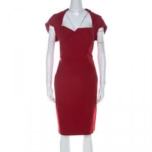 Roland Mouret Red Cotton Folded Shoulder Myrtha Sheath Dress L - used