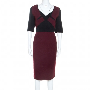 Roland Mouret Burgundy Wool Blend Embroidered Axele Dress XL - used
