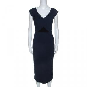 Roland Mouret Navy Blue Floral Waffle Cotton Grendon Dress L - used