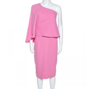 Roland Mouret Pink Crepe One Shoulder Amaral Dress M