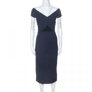 Roland Mouret Navy Blue Floral Waffle Cotton Grendon Dress M - used
