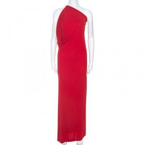 Roland Mouret Red Crepe Asymmetric One Shoulder Maxi Dress M - used