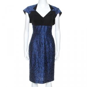 Roland Mouret Navy Blue Mirah Jacquard Cotton Silk Midi Dress S - used