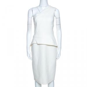 Roland Mouret Off White Wool Lyford One Shoulder Dress L - used